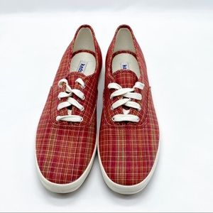 Red Plaid Canvas Keds Sneakers